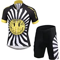 18216499a CH Q Kids Boys Girls Cycling Jersey Set Short Sleeve Jersey and 3D Padded  Shorts for Mountain