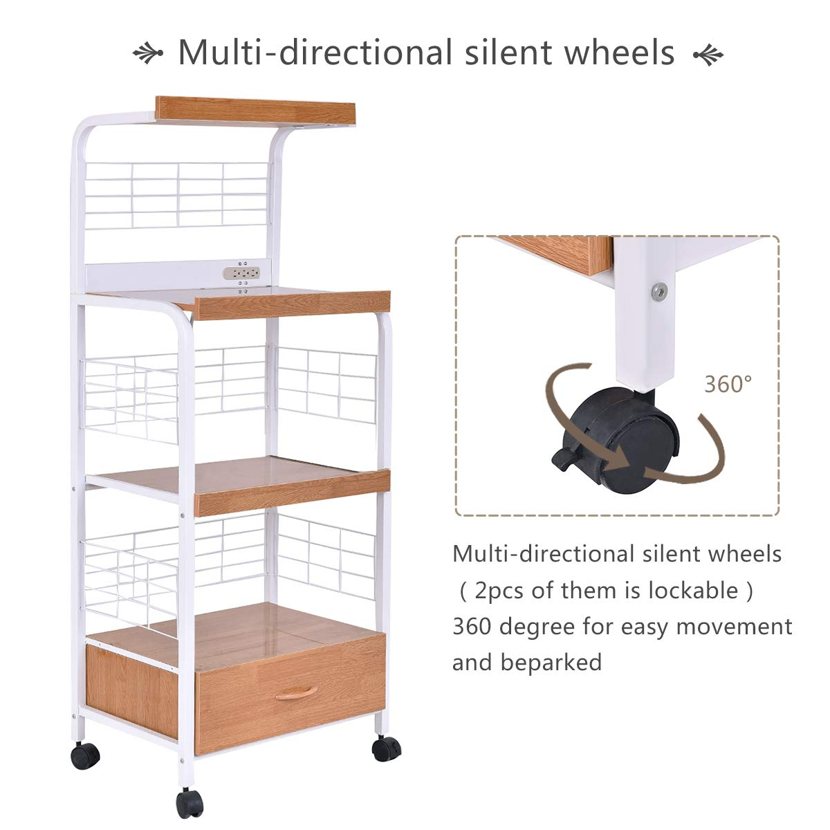 Giantex Microwave Cart Kitchen Baker's Rack Microwave Oven Stand Rolling Kitchen Storage Cart Utensils Organizer w/Electric Outlet and Drawer by Giantex (Image #4)