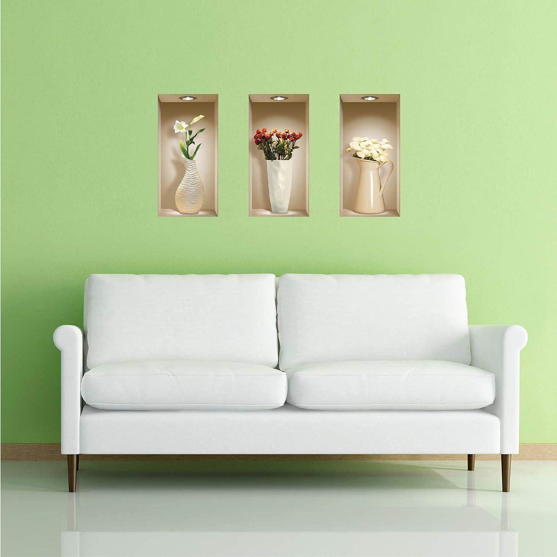 LNisha Art Magic vinyle 3D Autocollants mural amovible bricolage vases de couleur Ensemble de 3
