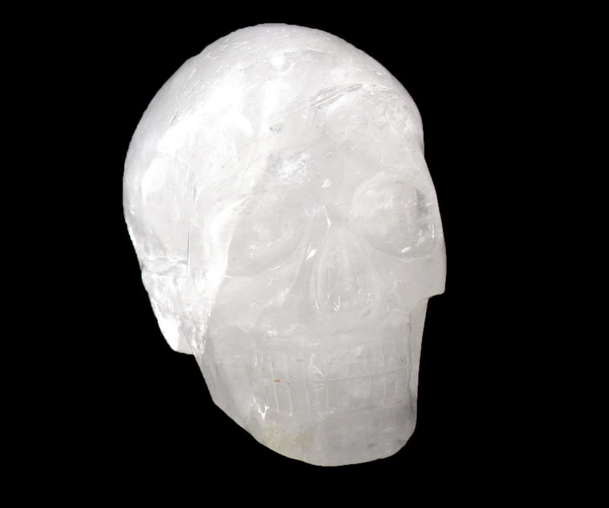 Tianmai Natural Clear Crystal Carved Realistic Skull Sculpture, Healing Energy Reiki Collectible Figurine Michele Carved Skull