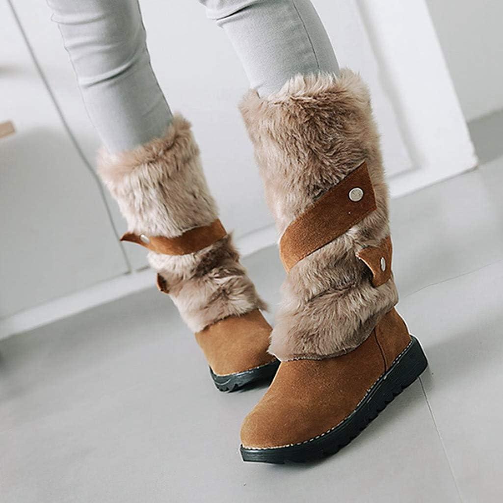 FAY WATERS Womens Cute Warm Mid Calf Boots Flock Flat Heel Round Toe Slip on Winter Snow Booties