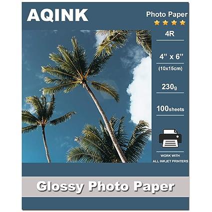Papel fotográfico brillante AQINK de 10 x 15 cm, 230 g/m², 100 hojas de papel fotográfico de inyección de tinta avanzado para todas las impresoras