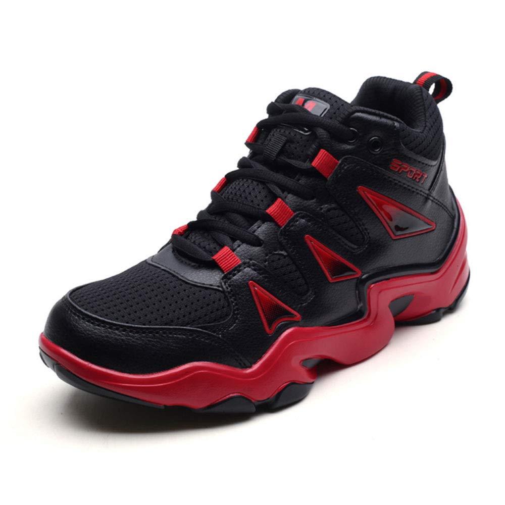 YSZDM Basketballschuhe, Men es Turnschuhe Wear-Resistant Non-Slip High-Top Basketball-Trainer Kushioning Breathable Outdoor Stiefel,rot,42