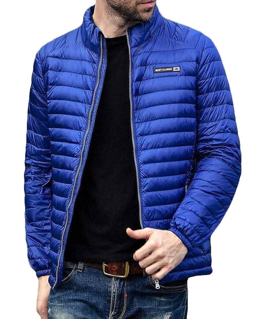 CRYYU Men Warm Stand Collar Slim Down Puffer Coat Ultra-Lightweight Packable Coat