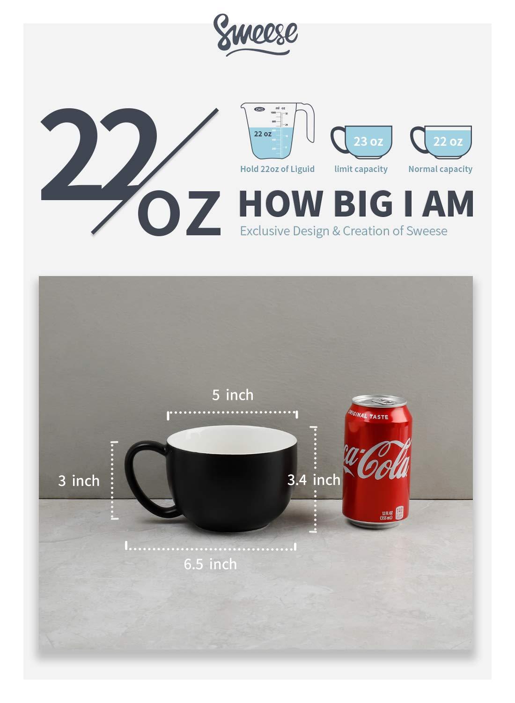 22 oz Jumbo Soup Bowl and Cereal Mugs Sweese 613.101 Coffee Mug Set of 4 White