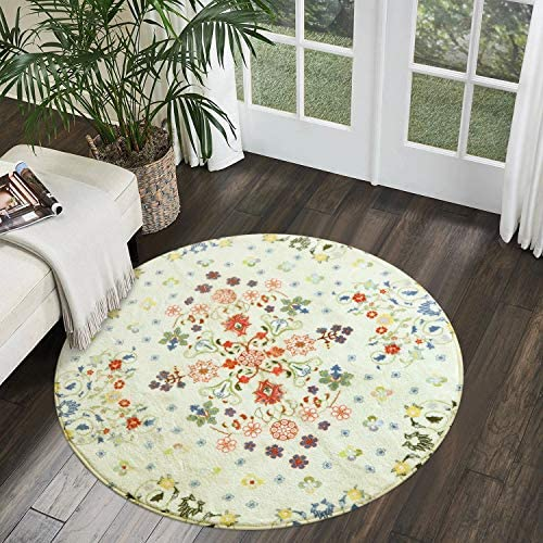 Uphome Round Area Rug 3ft Small Beige Rustic Throw Rugs Soft Velvet Romantic Country Floral Style Accent Rug Contemporary Cute Floor Carpet Non-Slip Washable