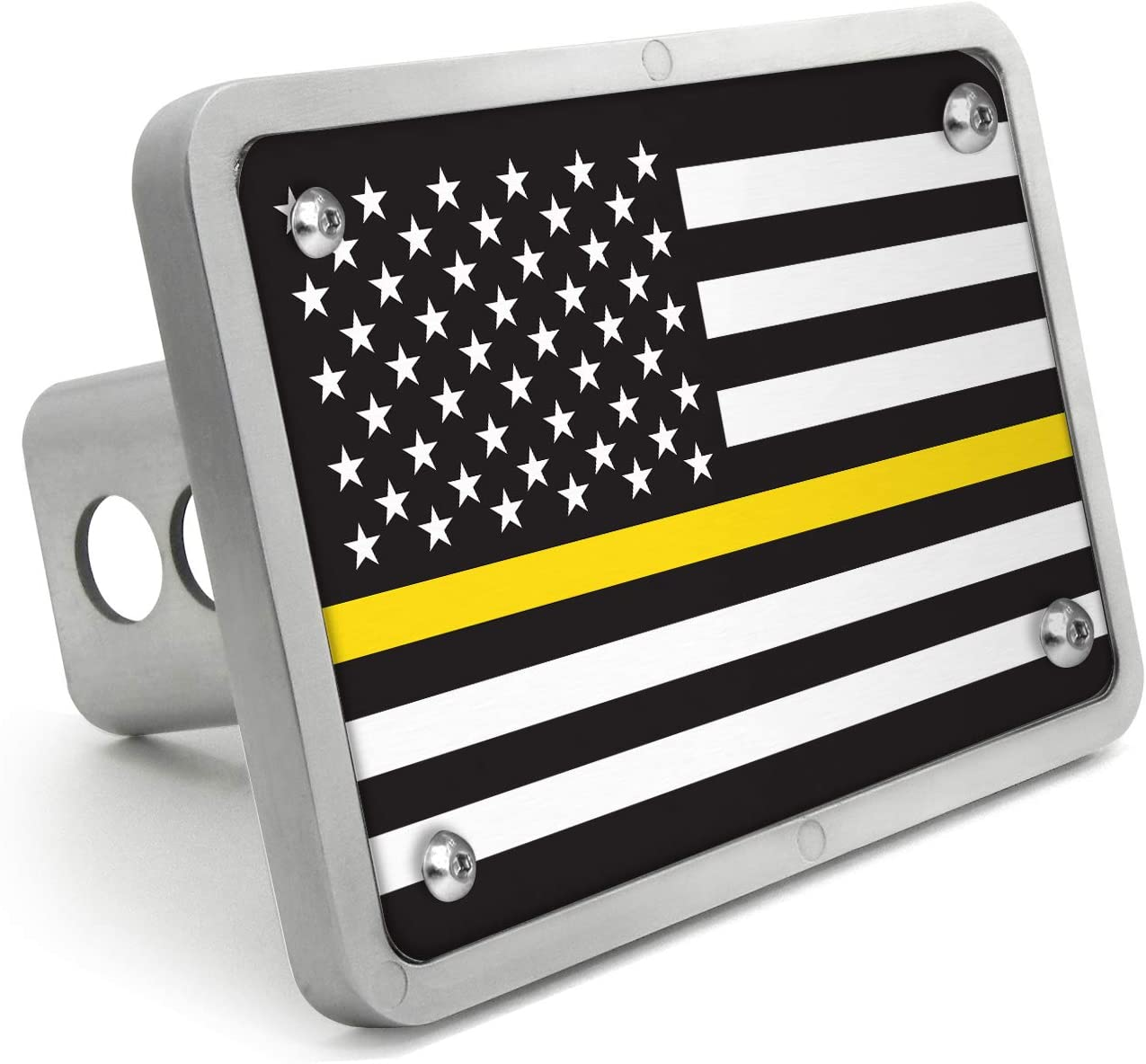Firefighter Thin Red Line Flag Brushed Metal Hitch Cover
