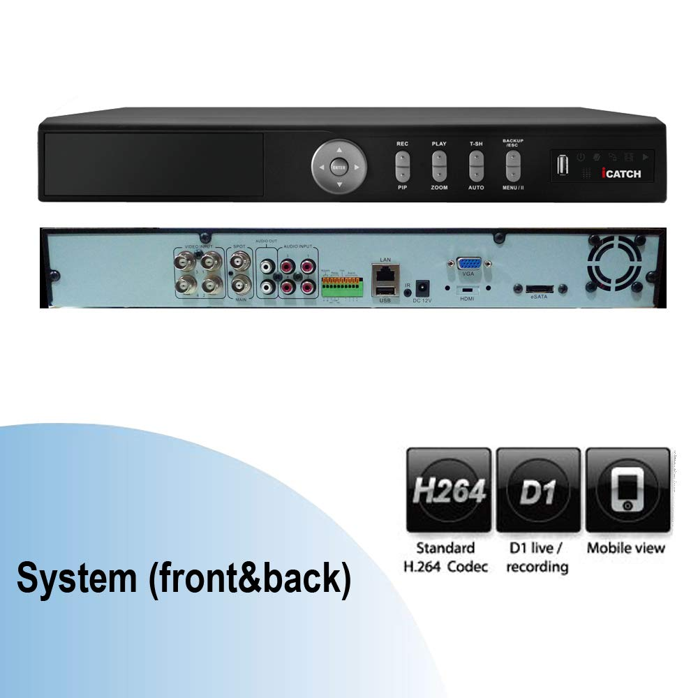 iCATCH CCTV System 4CH D1 H.264 real-time Survillance DVR Recorder CMS support