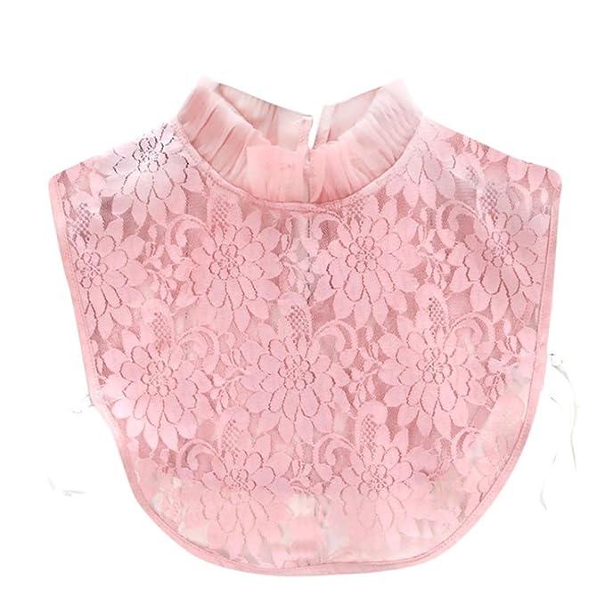 Damen Kragen Puppe Abnehmbare Kragen Shirt Bluse Spitze Floral False Kragen  Kanpola (M, Pink 5a168eb5b9