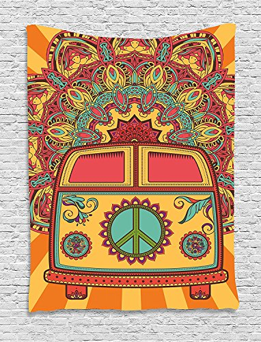 70s Party Decorations Tapestry, Hippie Vintage Mini Van Ornamental Backdrop Peace Sign, Wall Hanging for Bedroom Living Room Dorm, 60 W X 80 L Inches, Coral Orange Turquoise (Hippy Van)