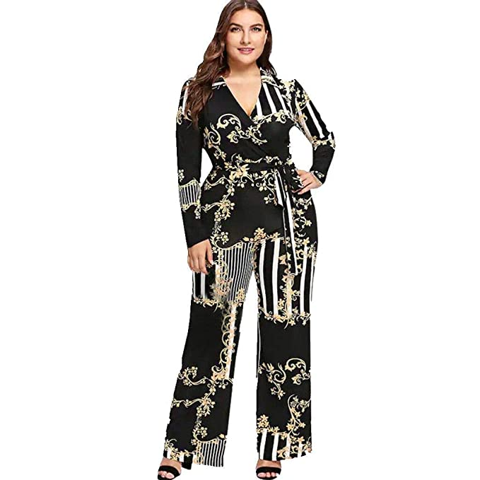 2be13736aeb9 Amazon.com  Colifas Women s Sexy V-Neck Print Jumpsuit