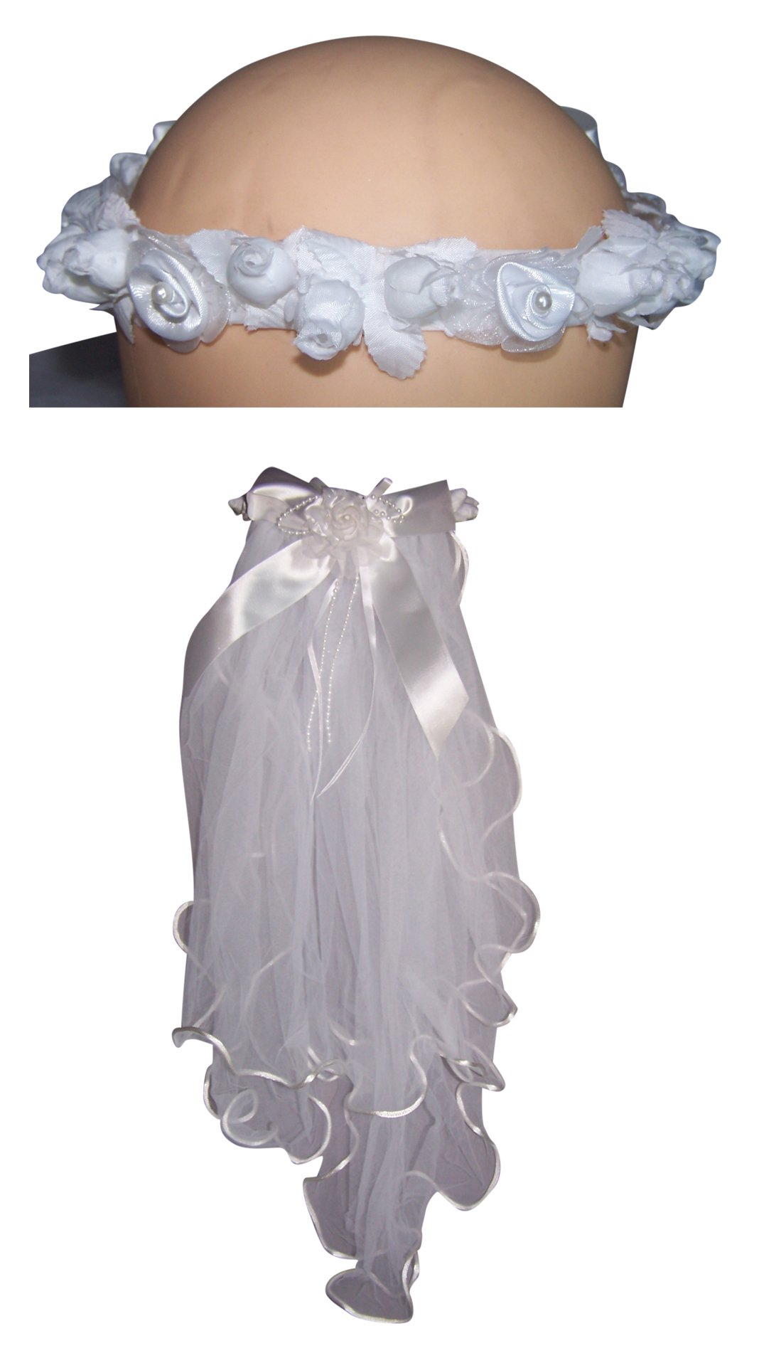 Handmade White Communion Veils With Floral Crown (Veil105 Z)