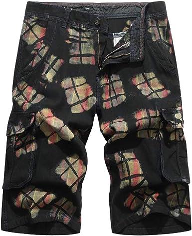 GUOCU Hombre Camuflaje Pantalones Cortos Vintage Algodón Múltiples ...