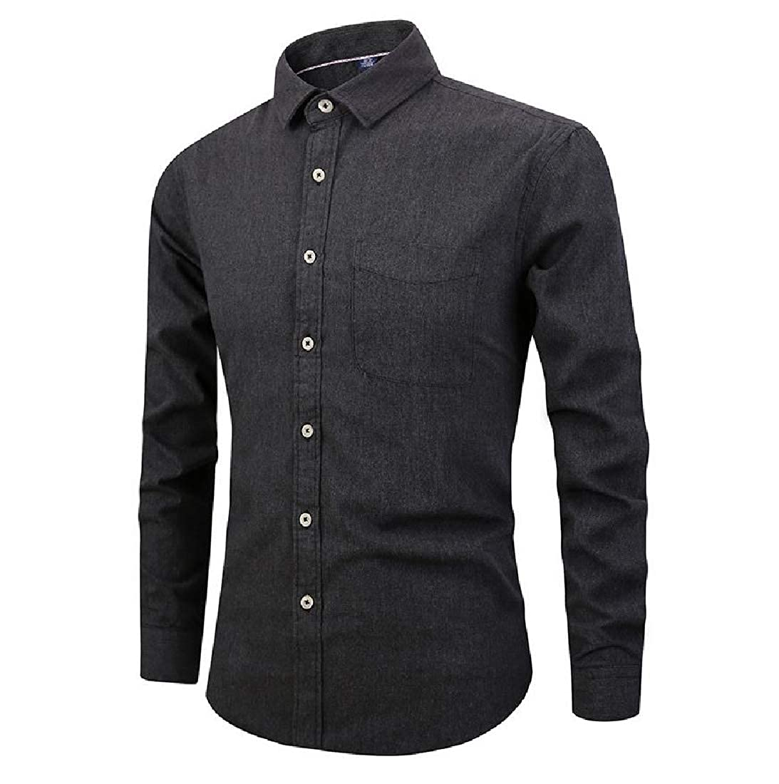 Abetteric Men Solid Colored Brushed Casual Long-Sleeve No Iron Dress Shirt