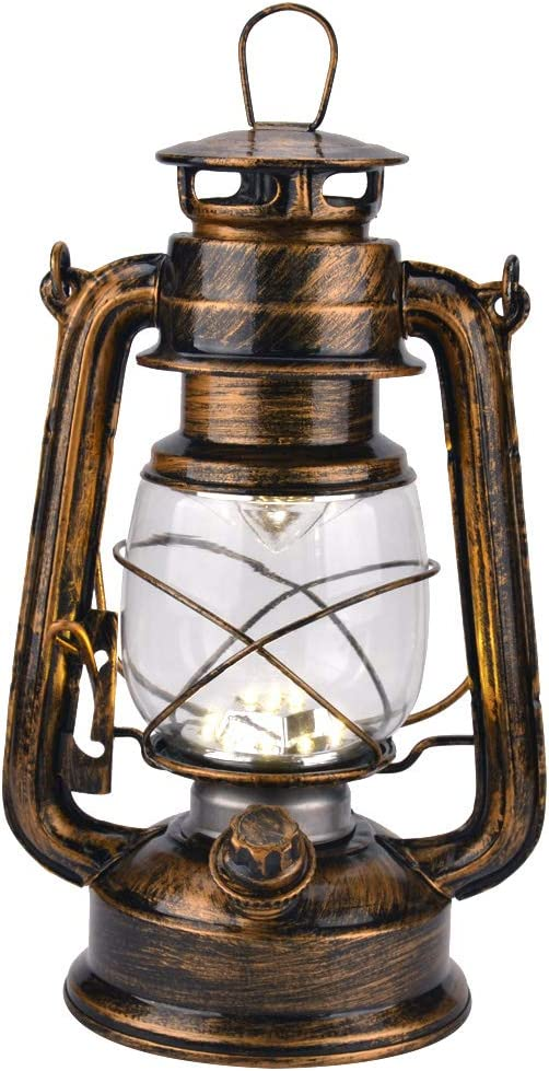 Vintage LED Hurricane Lantern with Dimmer Switch and 15 LEDs, Warm White Electric Kerosene Lamp Battery Operated, Hand-Painted Gold Metal Hanging Lantern for Indoors and Outdoor Usage