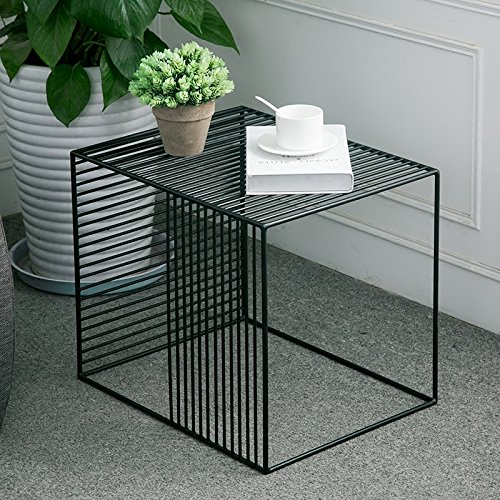 (WGX Square Wrought Iron Coffee Table Outdoor Iron End Table Nesting Side Tables Plant Stand, Black, Set of One (B L19xW14.5xH15.7) )