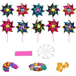 Lawn Pinwheels, Party Pinwheels Windmill Rainbow Pinwheel DIY Pinwheels Set for Kids Toy Garden Lawn Decor, 100 PCS