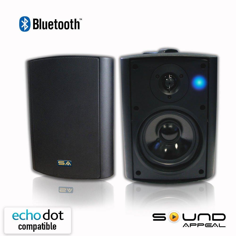 Bluetooth 5.25 Indoor/Outdoor Weatherproof Patio Speakers (Black  Pair)