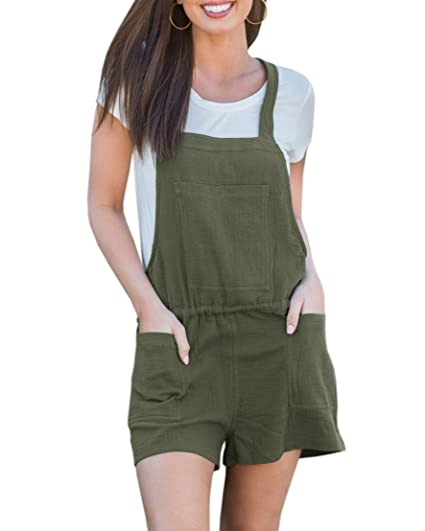 Amazoncom Cnjfj Womens Summer Linen Short Overalls Adjustable
