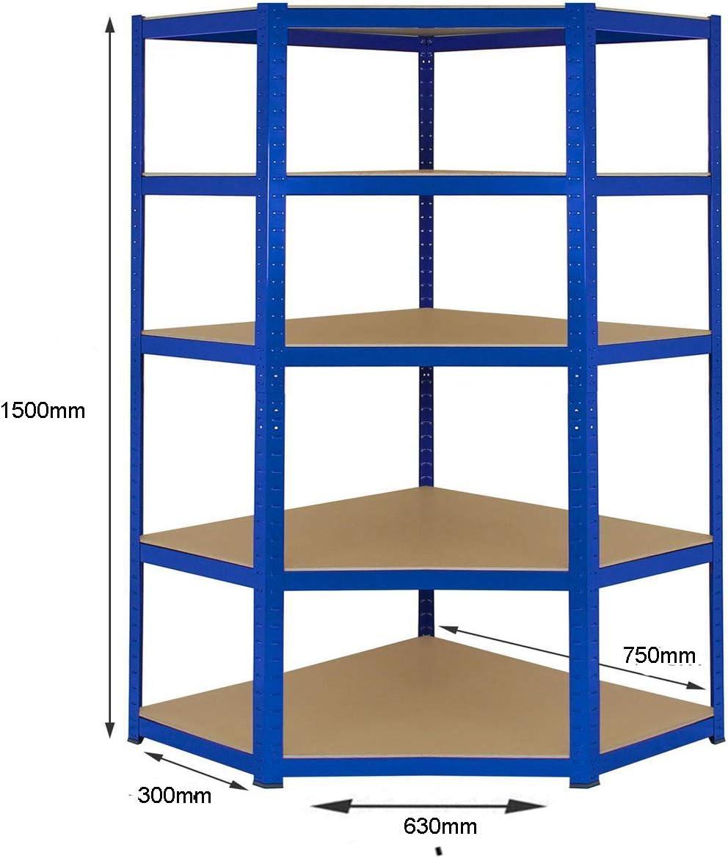 1 unidad de esquina 1500mm x 750mm x 300mm y 2 unidades de estanter/ía 1500mm H x 750mm W x 300mm D Kit de estanter/ías para esquinas de servicio pesado capacidad de almacenamiento masivo de 2250