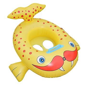 Hinchable de dibujos animados niños agua taxis juguete flotador con mango rojo boca peces