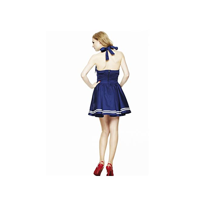 Hell Bunny – Motley Mini Dress Rockabilly Vestido Azul Marino/Blanco sin tontillo Azul Oscuro