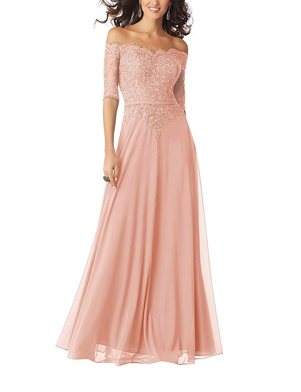 bluesh Women Lace Formal Evening Gown Half Sleeves Mother The Bride Dress