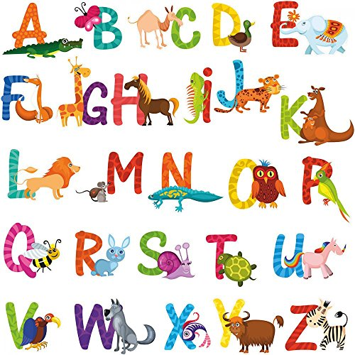 Shaped Animals Zoo Puzzle (Wallmonkeys Kids Animal Alphabet Wall Decal Sticker Set by Individual Peel and Stick Graphics on a (48 in H x 48 in W) Sticker Sheet WM498542)