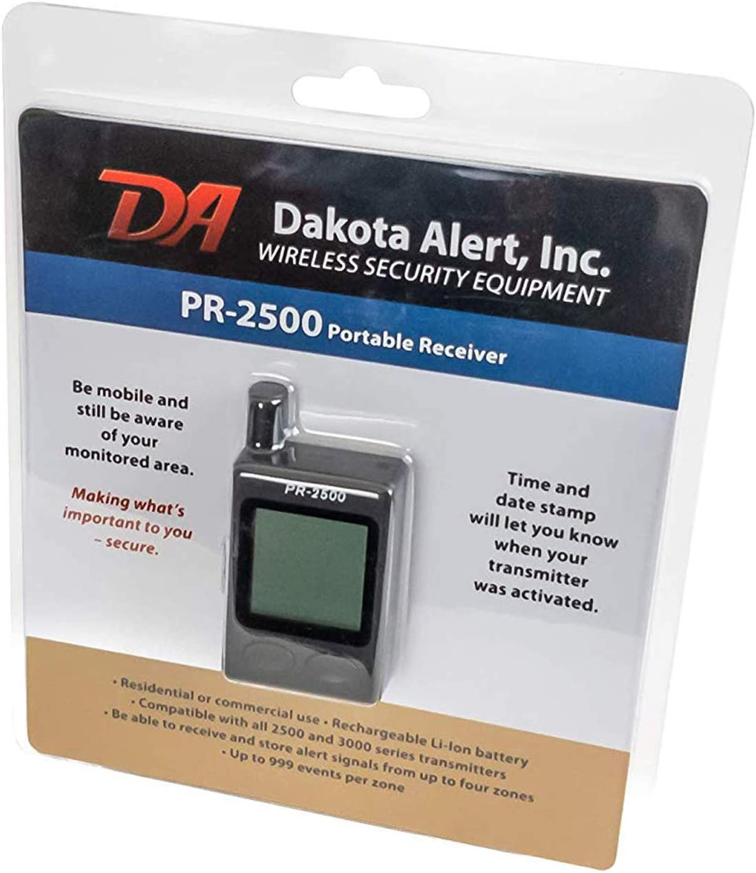 Dakota Alert Pr 2500 Portable Wireless Receiver For 2500 Series Transmitters Mobile Alarm Security System With Up To 1 2 Mile Operating Range