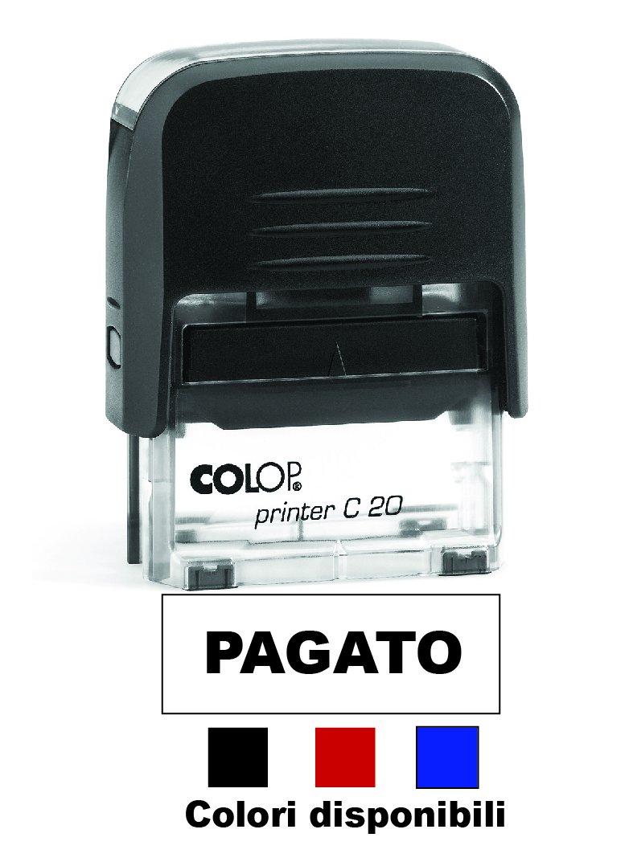 Timbro PAGATO Autoinchiostrante Pronto all'uso con Testo personalizzato Modello Colop Printer C 20 Commerciale Ufficio Scuola Lavoro Inchiostro disponibile in 3 colori (TAMPONE ROSSO)