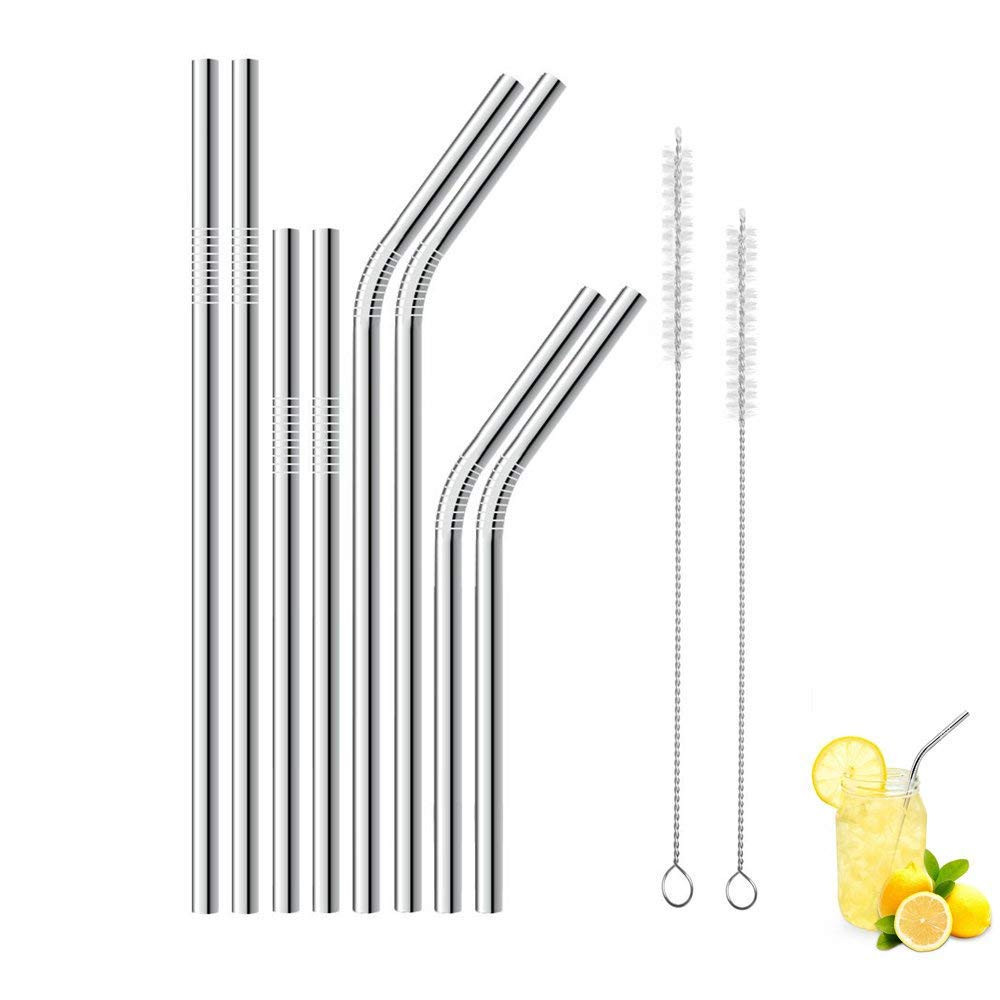 Stainless Steel Straws Set of 8 ZCPlus BPA Free Reusable Metal Drinking Straw for 30oz 20oz Tumbler Cups Mugs Yeti Rambler Rtic Ozark Trail(4 Bent 4 Straight)
