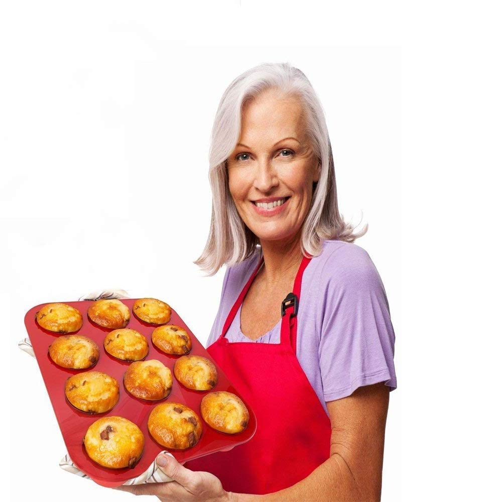 IPEC THERAPY 12 Cup Muffin Cupcake Baking Pan/Non - Stick Silicone Mold/Dishwasher - Microwave Safe, Red by IPEC THERAPY (Image #4)