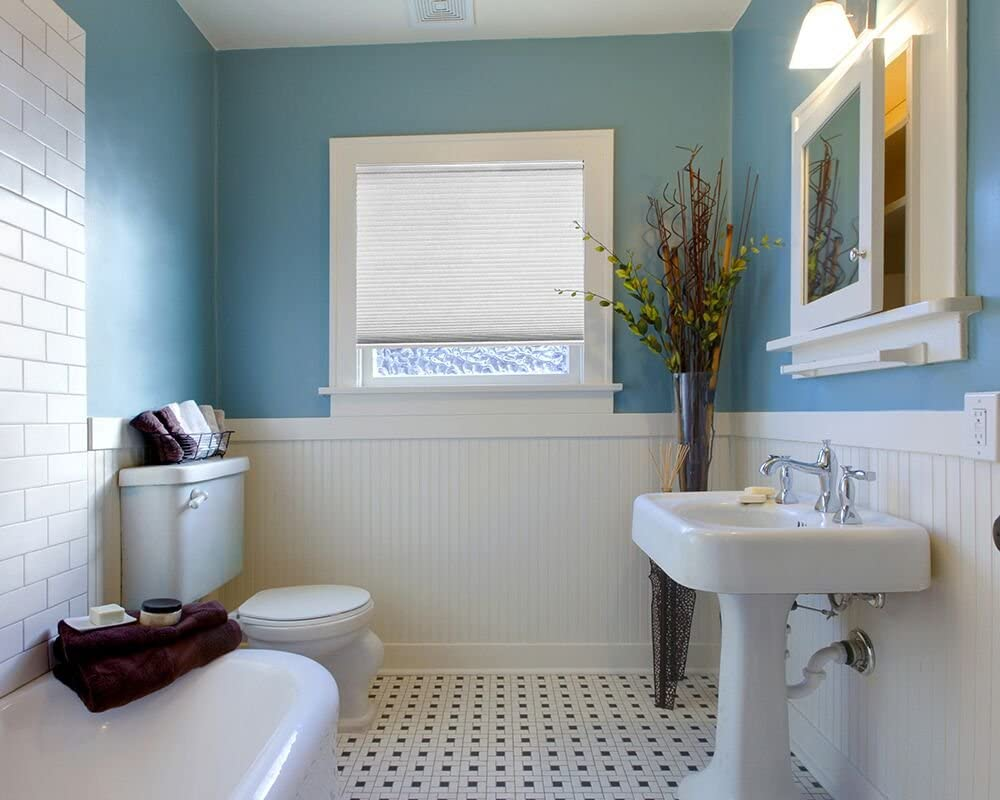Artisan Select No Tools Custom Cordless Cellular Blackout Shades 34 3//8 in x 72 in Cloud White