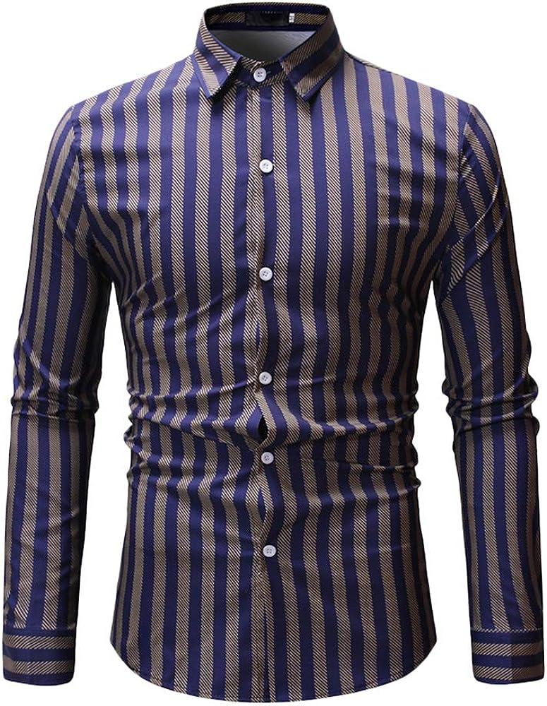Casual Camisa para Hombre Camisas Slim Fit Rayas Verticales Camisas Casual Transpirable Top Blusas De Trabajo Oficina Amarillo S: Amazon.es: Ropa y accesorios