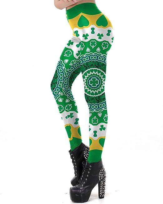 013c08c28dc55 FUSZZY Women's Digital Print Skinny Fitness Leggings Running Yoga Pants  (Clover Leggings-1,