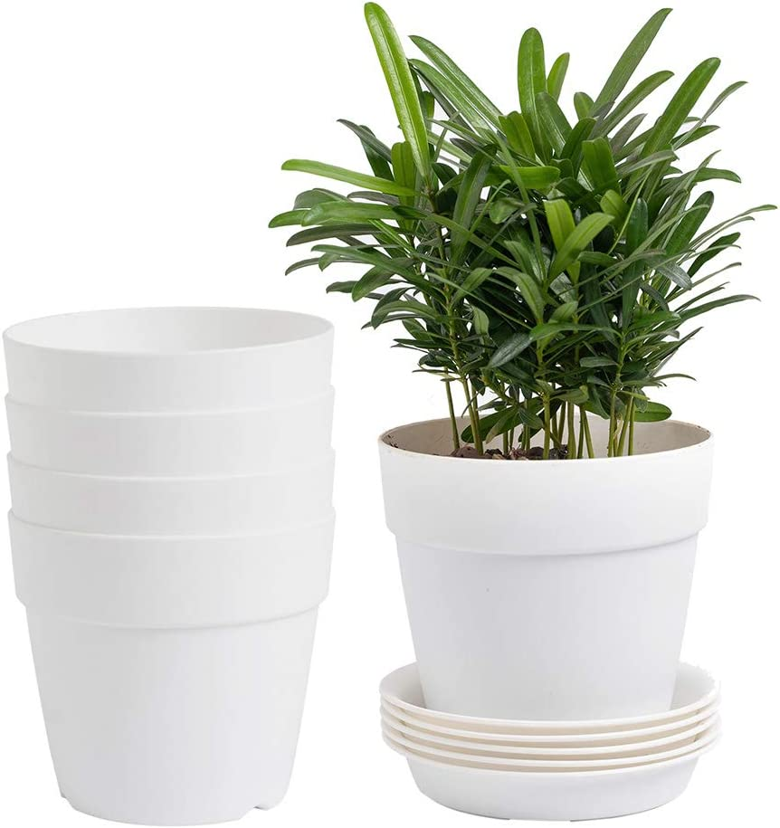 YXMYH 5.2 Inch Plastic Planters Indoor Set of 5 Flower Plant Pots Modern Decorative Gardening Pot with Drainage Hole and Tray for All House Plants, Succulents, Flowers, Foliage Plants, Cream White