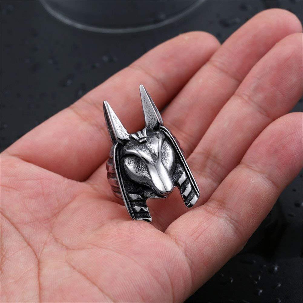 XNCBM La joyer/ía de Plata de Acero Dios Anubis Anillo Amuleto Inoxidable para Hombre de la Vendimia Muerto//Negro//Oro
