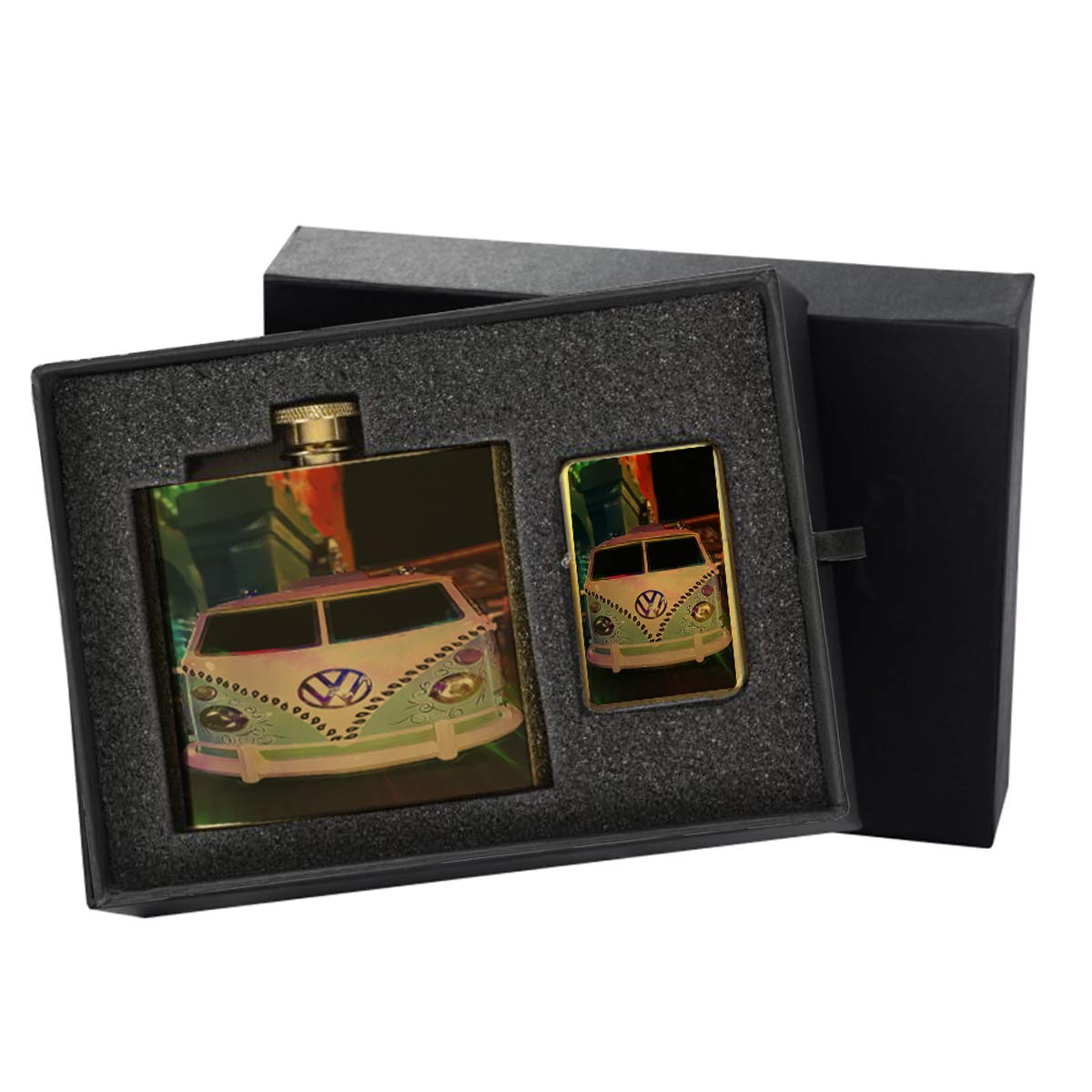 Volkswagon Van Art - Gold Lighter and Pocket Hip Liquor Flask Survival Camping Gift Box Set