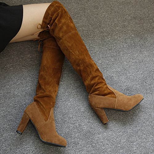 High Slim Over Heels Women Brown Riou Boots Shoes The Boots Stretch Faux Stylish Knee High qwFpfAZ
