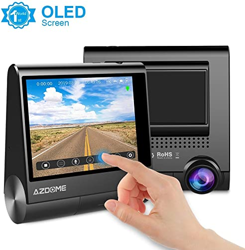AZDOME Dash Cam 1080P Full HD 3 OLED Display Touch Screen Dashboard Camera Built in GPS,G-Sensor,Loop Recording,Rotatable Camera,Night Vision,Parking Mode,Support 128GB max