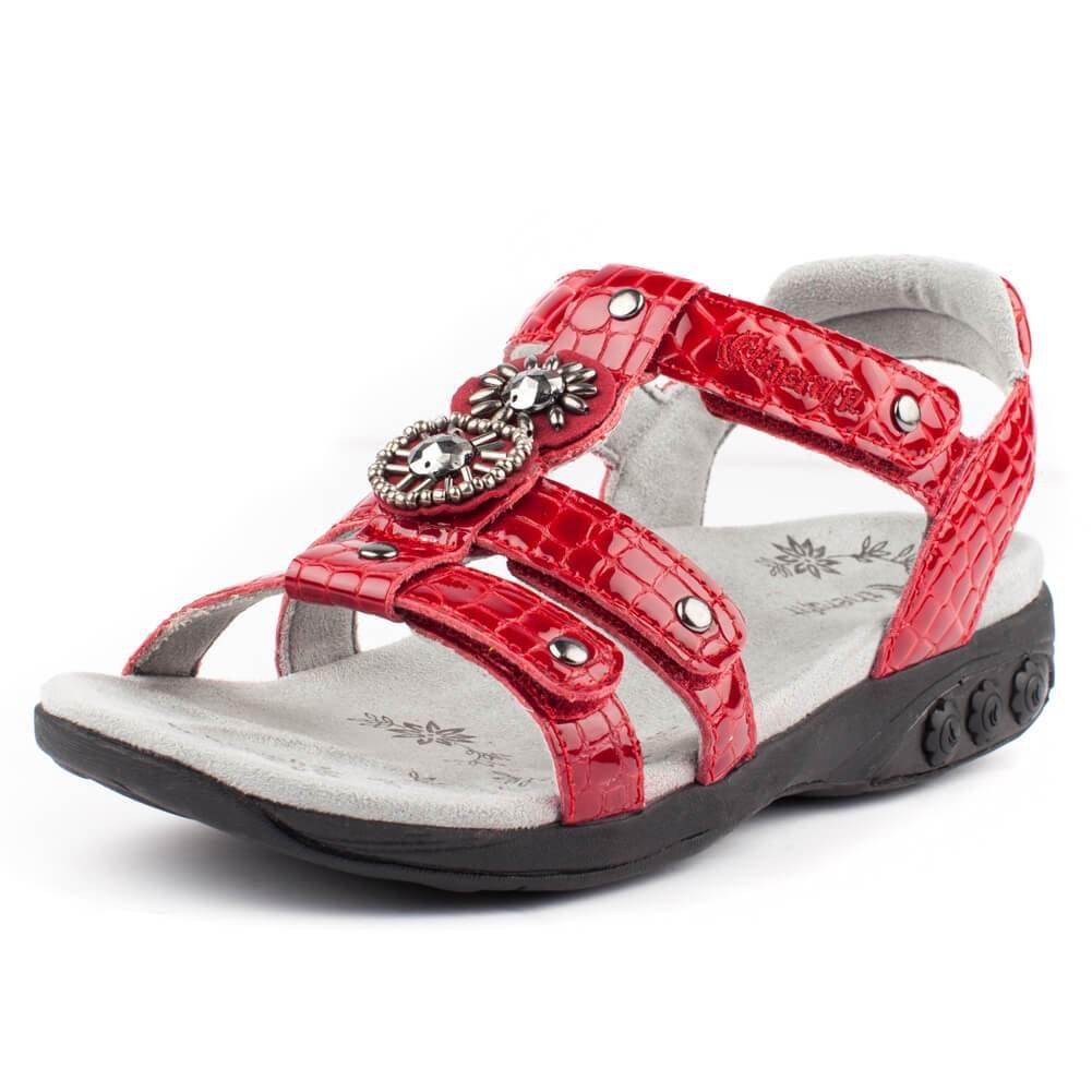 e1c3c71963d Therafit Charlotte dámské reliéfní plantární  drahokamy sandál pro  plantární fascitis drahokamy  bolesti nohou Červené 969c048