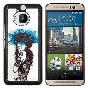 TECHCASE---Cubierta de la caja de protección para la piel dura ** HTC One M9+ M9 Plus ** --Fumar mariposa del tatuaje