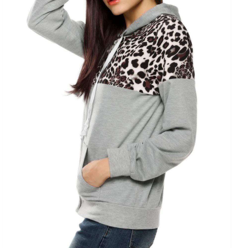 MEIbax Moda mujer abrigos y tops calientes Chaqueta con Estampado de Leopardo de oto/ño Invierno para Mujer Abrigo de su/éter con Capucha Sudadera con Capucha