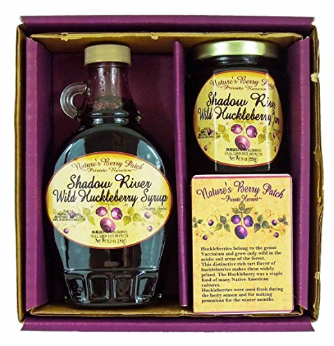 Shadow River Wild Huckleberry Gourmet Boxed Gift Set 8 oz Jam & 10 oz Syrup by Shadow River