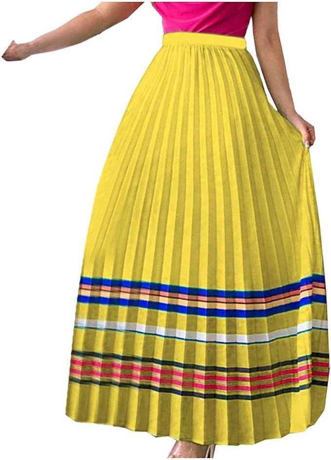 beautyjourney Falda Plisada Vintage para Mujer Faldas Swing ...