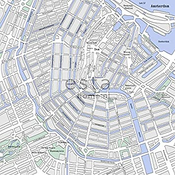 Fleece Wall Mural Denim Co Rasch Old Map Amsterdam CutOut - Amsterdam old map