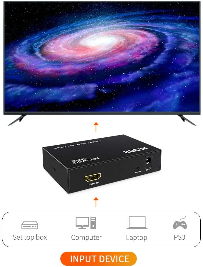 1x2 Support 3D Full HD 1080P 4Kx2K@30Hz with Power Adapter HDMI Splitter Dual Monitors MT-ViKI HDMI Splitter 1 in 2 Out