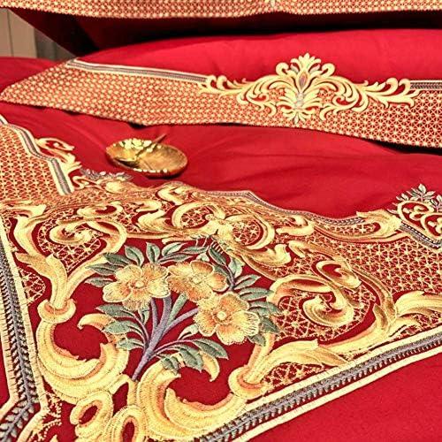 4ピース綿布団カバーセットキングサイズ寝具セット枕カバー刺繍ベッドカバー(赤、女王サイズ4ピース)