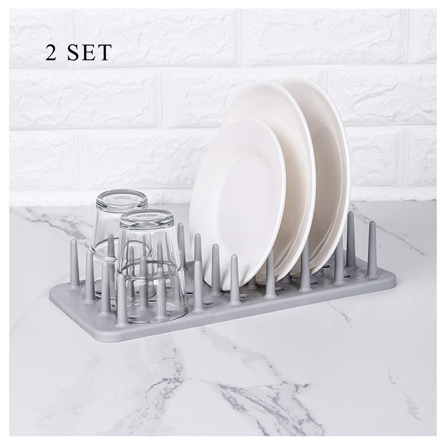 CASAGOOD Draining Dish Rack Bottle Drying Peg Rack Kitchen Organizer for Plate and Mug 2 Pack (Grey)
