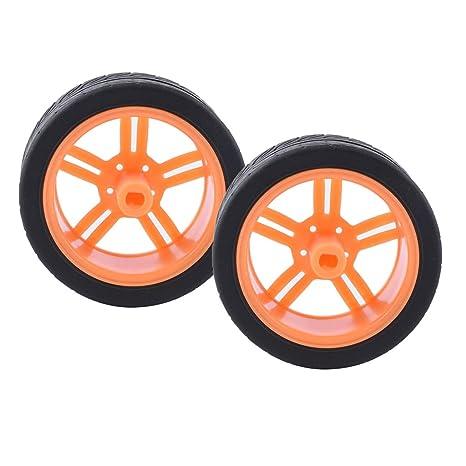 Sharplace 2X Ruedas de Neumático de Goma de Coche para Ruedas de Robot Accesorios de Motor